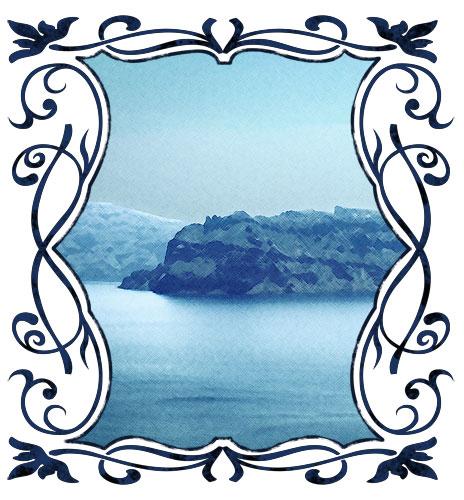 Santorini Küste (gerahmt)
